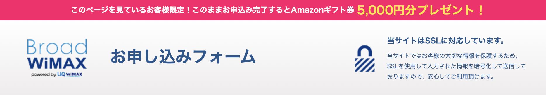 BroadWiMAX(ブロードワイマックス)のAmazon(アマゾン)ギフト券キャンペーン申し込み画面