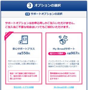 Broad WiMAX(ブロードワイマックス)お申し込み時のオプション選択